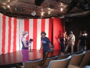 "A picture of the movie set we were on with the Circus Chickendog backdrop.  They even used our ""Circus"" sign!"