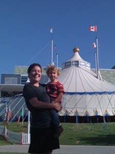 Here is a friend I know from bicycle rides that I chanced to meet at Sunday's show. She was babysitting for a friend and took this good looking little guy to see his first circus. Lucky fella!