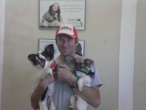 Here I am picking the pups up after their surgeries.